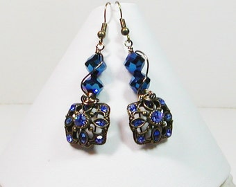 Victorian Style Blue Earrings, Crystal Victorian Earrings
