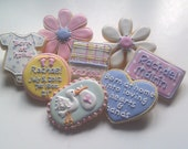 1 dozen Born at Home Baby Shower Vanilla Almond Decorated Sugar Cookies hearts flowers daisy stork