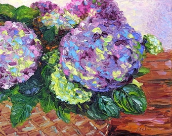 "Hydrangea Still life Textured Palette Knife Original Oil Painting on Small 8x10"" Canvas"