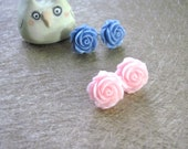 Set of TWO Vintage Pink and Blue Rose Earrings