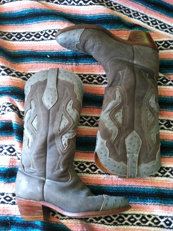 Incredible CHARCOAL ZODIAC Rare Ostrich and Suede Vintage Womens Cowboy Boots 10M