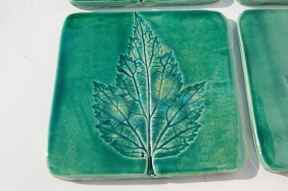 Drinks Mat coaster  square green leaf coaster Green coaster tiles wedding gift