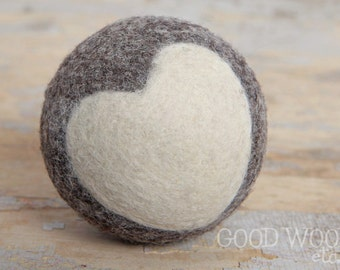 felted wool ball - charcoal with ivory heart