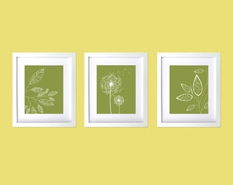 Modern Wall Decor Prints, Dandelions, Modern Flowers and leaves wall art, Olive Green White Custom Prints Natural Green Organic Wall Prints