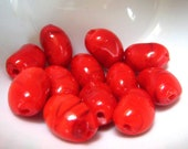12 pc Murano Glass Red Jelly Bean Beads, 14mm Bead Supplies