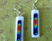 White Glass Fused Earrings