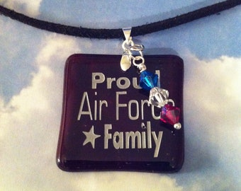 Proud Air Force Family Sandcarved Pendant