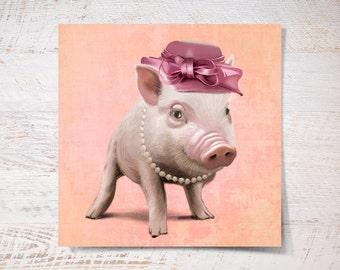 Miss Piggy print, Miss Piggy poster print gift funny illustration gift print portrait wall art print wall decor kids children