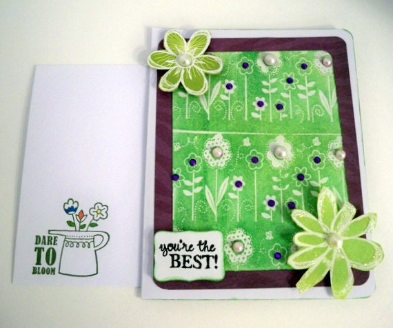 Christian Greeting Card 3D - Hand Stamped - Numbers 6 Purple Plum Green Floral Art Embossed