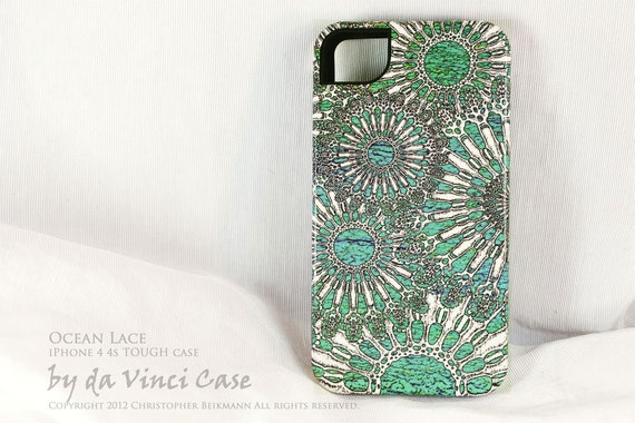 "iPhone 4 case - unique iphone 4s case - ""Ocean Lace"" turquoise green and white iphone TOUGH cover with silicone liner"