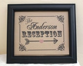 8 x 10 PERSONALIZED with your last NAME- Directional Reception - Wedding Sign - Single Sheet (Style: RECEPTION)