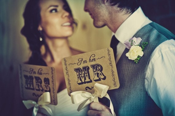 my ORIGINAL I'm Her Mr  I'm His Mrs - Thank You Cards-Double Sided-Wedding Decor Photo Props Sign- Kraft Paper Goods - Set of 2
