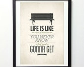 Forrest Gump Life Quote Poster, Life Is Like A Box of Chocolates, Typography Wall Art, Inspirational Print, Vintage Signs, Typography Print