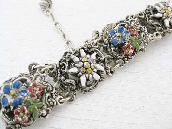 Silver link bracelet. mountain flowers. EDELWEISS.