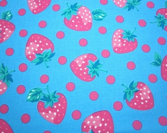 SALE Japanese Fabric LICIEN Big Strawberry Polka Dots Saxeblue FQ