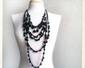 Black Crochet Statement necklace - Summer trend - SUMMER SALE 15% OFF