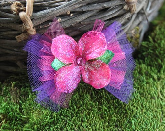 Glittered Hot Pink Hydrangea Blossom with Tulle- Handmade Floral Headpiece