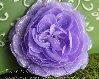 Glittered Lavender Ranunculus Alligator Hair Clip- Handmade Floral Headpiece