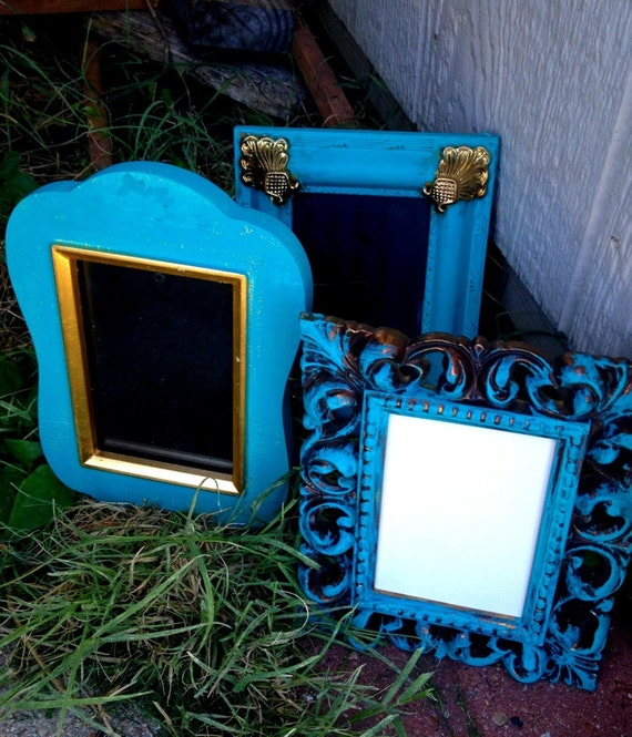 Set of Three Vintage Turquoise//Gold Frames