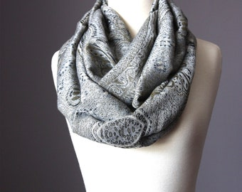 Grey scarf, infinity gray scarf, pashmina grey scarf, silver gray