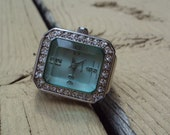 SALE Avon Blue Gem Face w/Rhinestones Stretch Ring Watch