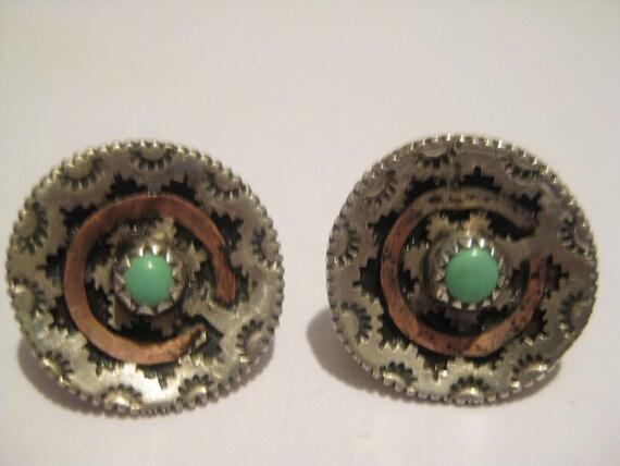 Vintage Navajo Sterling Silver Turquoise Wedding Basket Earrings