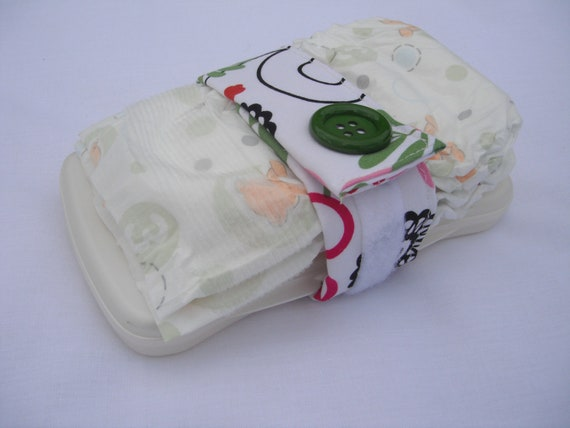 Diaper Strap, Baby Girl, Floral - Pink and Green