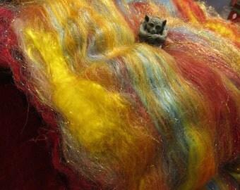 FIRESTORM 4.0 oz, fiber art batt for spinning, spinning batt, felting fiber, sparkle batt, roving, Angelina fiber, fiber art, batt