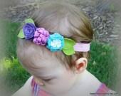 Felt Flower Baby Headband - Carnation and Rose with Vintage Millinery Flower - Baby Newborn Photoprop