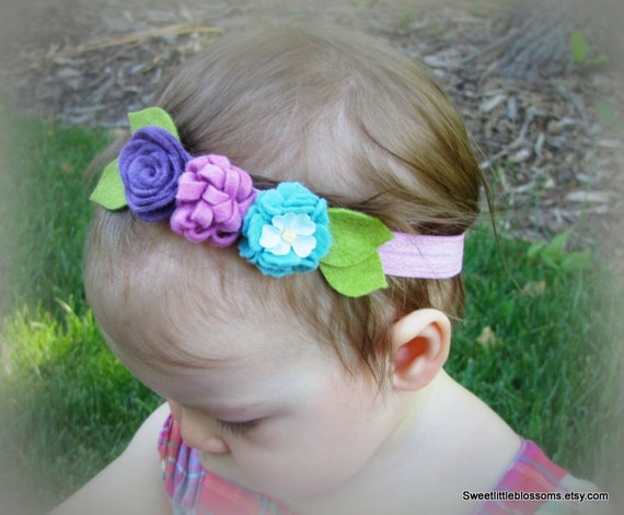 Felt Flower Baby Headband - Carnation and Rose with Vintage Millinery Flower - Baby Newborn Photoprop