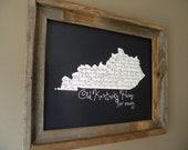 My Old Kentucky Home 11x14 Black Map Print