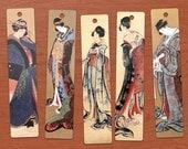 Hokusai Japanese Ladies DIGITAL Printable Bookmarks Set of 10.