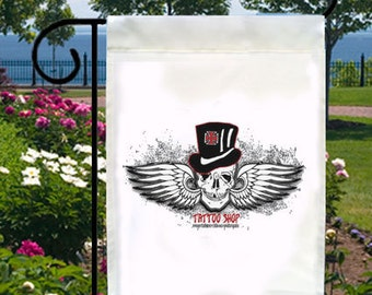 Tattoo Shop Skull Top Hat New Ivory Small Garden Flag