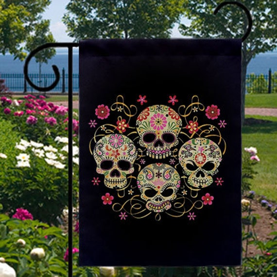 Sugar Skulls Day of the Dead New Small Garden Yard Flag, Cool Gothic Flare