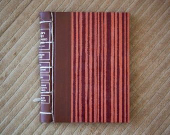 striped vintage hand made journal // hard bound journal
