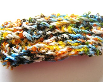 Soft Autumn Colored Crocheted Cuff Style Bracelet