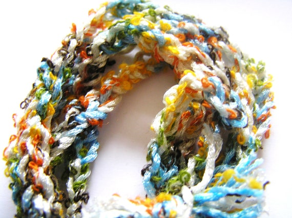 Tropical Colored Fuzzy Crocheted Bracelet
