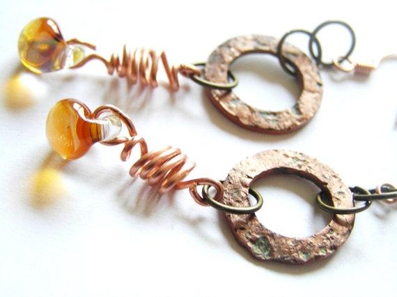 Rustic Copper Coil, Copper Washer, & Orange and Blue Teardrop Copper Earrings