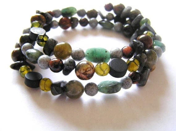 Emerald, Labradorite, Olive Fire Agate, Red Creek Jasper, Marbled Goldstone, Feldspar Oval Memory Wire Bracelet