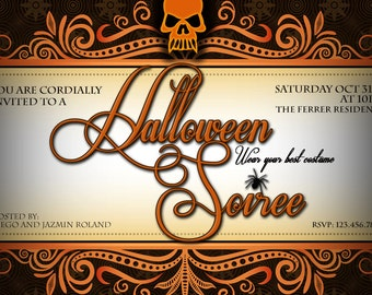 Halloween Invitation - Adult Halloween Invitation - Halloween Party Invitation - Halloween Soiree - Halloween DIY Invitation