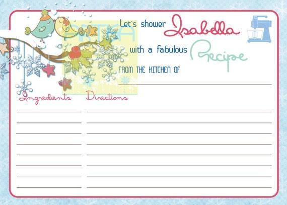 recipe card winter love birds bridal shower love birds winter recipe card winter recipe card winter birds recipe card from on etsy