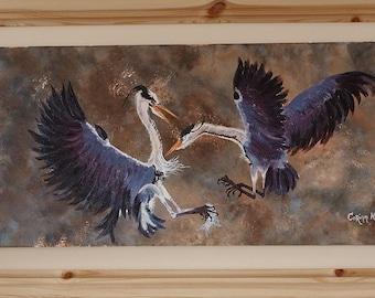 Original Irish FRAMED Acrylic Painting by Artist CORINA HOGAN - Herons At War