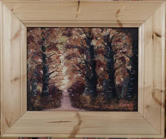 Original Irish FRAMED Oil Painting by Artist CORINA HOGAN - Autumn Forest Path