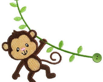 Instant Download Monkey Filled Stitches Machine Embroidery Design NO:1221