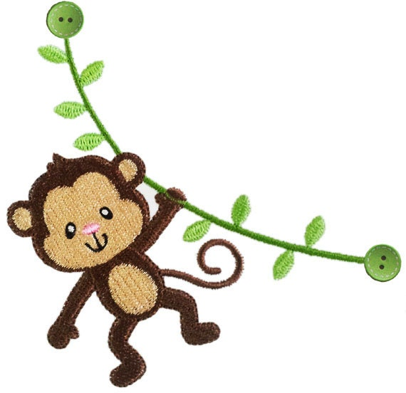 Instant Download Monkey Filled Stitches Machine Embroidery