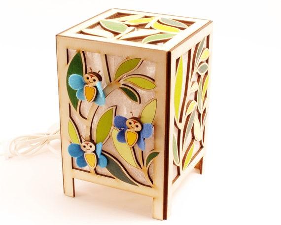 Butterflies, Lamp, Nightlight, Nursery Lamp, Baby Shower, Gift, Lighting, for Child's Room, Blue,