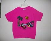 1980's Mickey Mouse Fuzzy Short Sleeve Sweatshirt