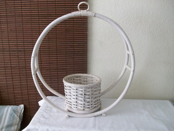 Large 1970's Rattan Hanging Planter
