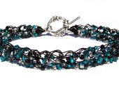 Bracelet, Wire Crochet, Black & Teal