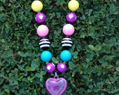 Fall Glamour Punk Chunky Beaded Necklace With Pink Heart Charm-Childrens Boutique Jewelry or Photography Prop. Lead/Nickel Free
